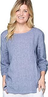 Focus Fashion Women's Lightweight French Linen 3/4 Sleeve Tunic