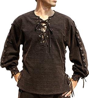8471d72e44 Svenine Cotton Medieval Button Sleeve Shirt Renaissance Pirate Costume