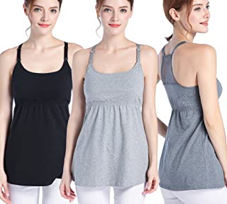 SUIEK Women's Nursing Tank Top Cami Maternity Bra Breastfeeding Shirts