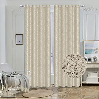 "Nashville Collection Blackout Window Panel Set/Thermal Sparkle Curtains Silver Metallic Design Darkening Drapes 54""Width 84"