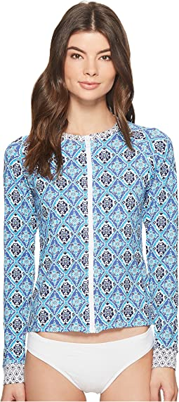 Tommy Bahama - Tika Tiles Long-Sleeve Full-Zip Rashguard