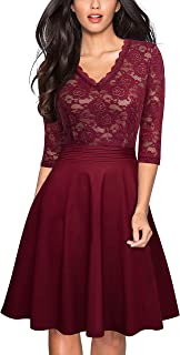 HOMEYEE Women's Chic V-Neck Lace Patchwork Flare Party Dress A062 Black