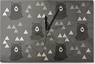 Bear and Triangle Pattern - Black and Grey (10x15 Wood Wall Clock, Decor Ready to Hang)