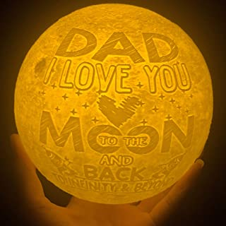 VTH Global Dad I Love You to The Moon and Back 3D Printed Moon Lamp Night Lights Dog Older Elderly Bonus Step Dad Daddy Birthday Gifts from Daughter Son Kids Children Wife Pets