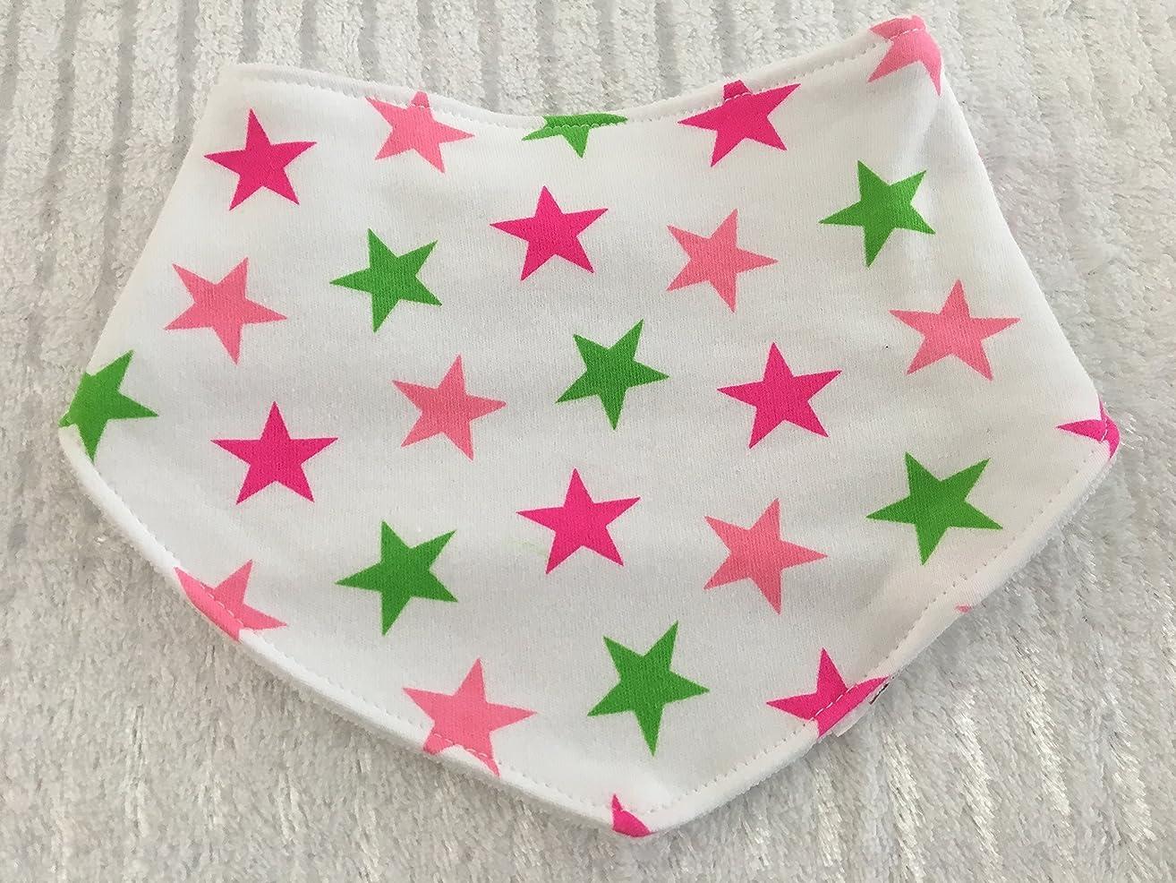 Pink Green and White Star Print Bandana Bib, Custom Bandana Bib, Custom Dog Bandana