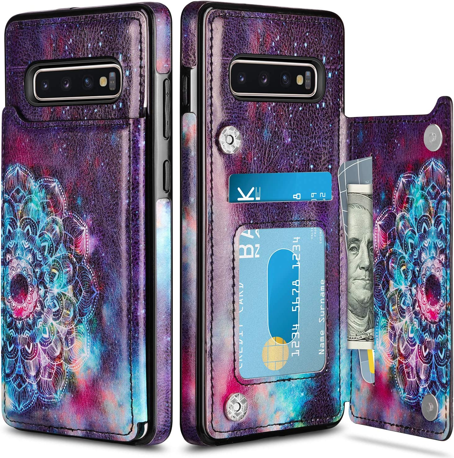 HianDier Wallet Case for Galaxy S10 Plus Slim Protective Case with Credit Card Slot Holder for Women Flip Folio Soft PU Leather Magnetic Closure Cover for Samsung Galaxy S10 Plus 6.4 Inches, Mandala