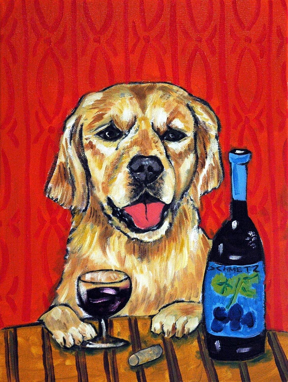 Golden retriever at the Wine [Alternative dealer] Bar print dog gift Manufacturer direct delivery art signed