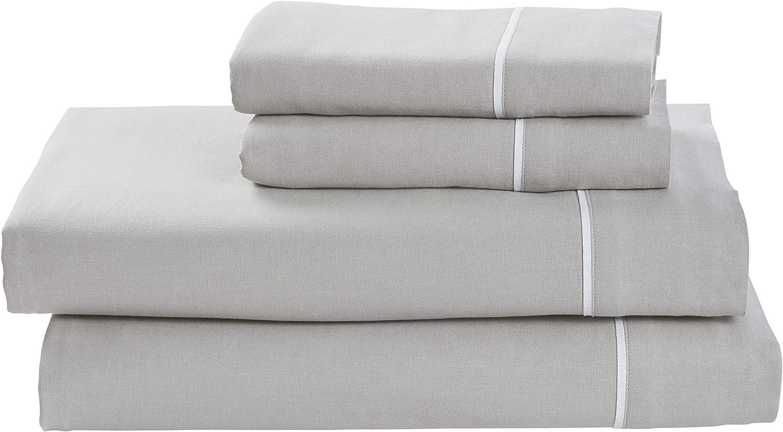 Rivet Contrast Hem Breathable Cotton Linen Sheet Set, King, Vapor White
