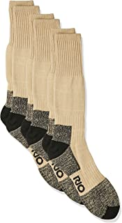 Rio Men's Reinforced Cushion Comfort Work Socks (3 Pack), Taupe, 11+