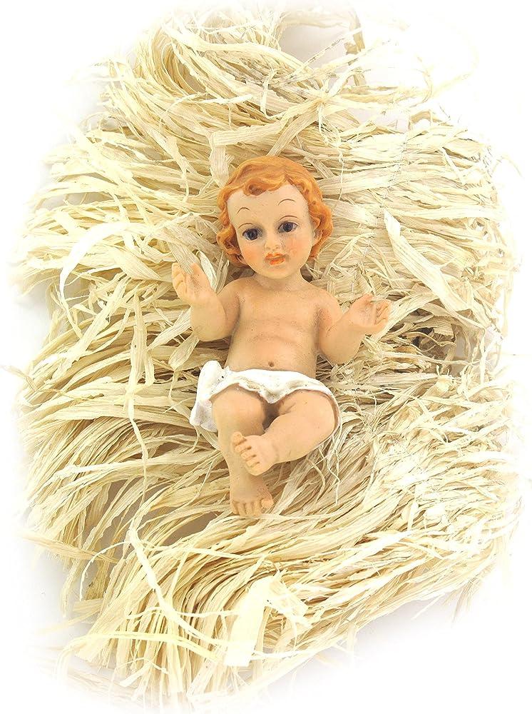 Ferrari & arrighetti gesù bambino da 10 cm con simil-paglia per culla,personaggio del presepe 217610