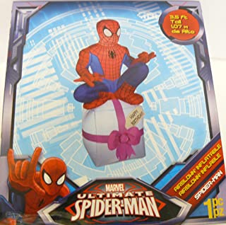 Marvel Ultimate Spiderman Happy Birthday 3.5ft. Airblown Inflatable with LED Light
