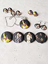 Freddie Mercury Fabric Button Earrings, Pin or Necklace
