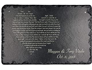 """Sassy Squirrel Handcrafted and Personalized Wedding First Dance Present Song Lyrics Wedding Vows Poem Ideal for him her Couples Husband Wife Girlfriend Boyfriend Valentines Christmas (12""""x8"""")"""