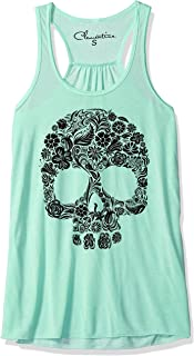 Clementine Women's Floral Skull Graphic Flowy Racerback Tank