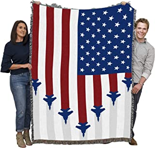 Pure Country Weavers US Air Force - Fighter Jets American Flag Blanket Throw Woven from Cotton - Made in The USA (72x54)