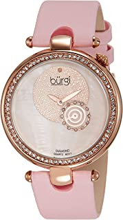 Burgi Womens BUR042 Round Dazzling Diamond Watch with Satin Band