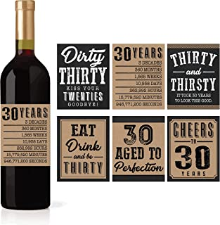 6 30th Birthday Wine or Beer Bottle Labels Stickers Present, 1989 Dirty Thirsty Thirty Bday Gifts For Him Men, Cheers to 30 Years, Funny Unique Party Decorations and Novelty Supplies For Man Husband