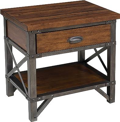 Benjara Wooden Nightstand with Metal Block Legs and Open Shelf, Brown