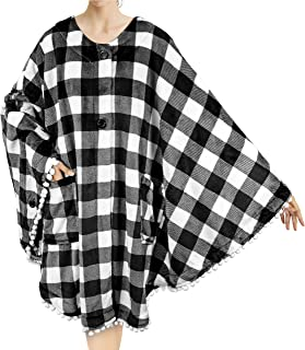 PAVILIA Angel Wrap Poncho Blanket with Pom Pom Fringe   Wearable Blanket Wrap, Soft Snuggly Throw Cape with Pockets for Wo...