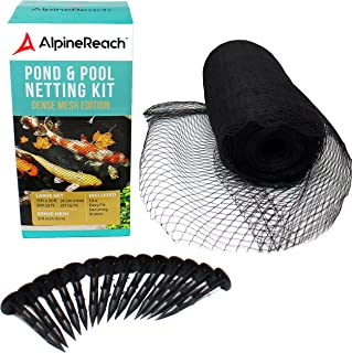 AlpineReach Koi Pond Netting Kit 15 x 20 Feet - Woven Fine Mesh Heavy Duty Stretch Pool Pond Net Cover for Leaves - Protects Koi Fish from Blue Heron Birds Cats Predators UV Protection Stakes Included