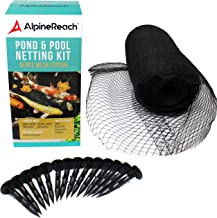 AlpineReach Koi Pond Netting Kit 15 x 20 Feet - Dense Fine Mesh Heavy Duty Stretch Pool Pond Net Cover for Leaves - Protects Koi Fish from Blue Heron Birds Cats Predators UV Protection Stakes Included