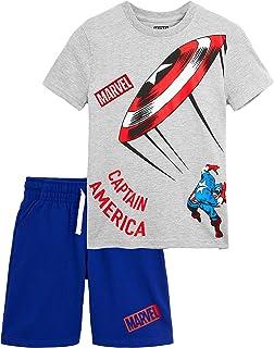Pijama Niño Verano, Pijamas Niños Cortos de Los Vengadores Iron Man Capitan America Hulk, Conjunto Niño Verano 2 Piezas, Regalos para Niños Adolescentes 8-14 Años
