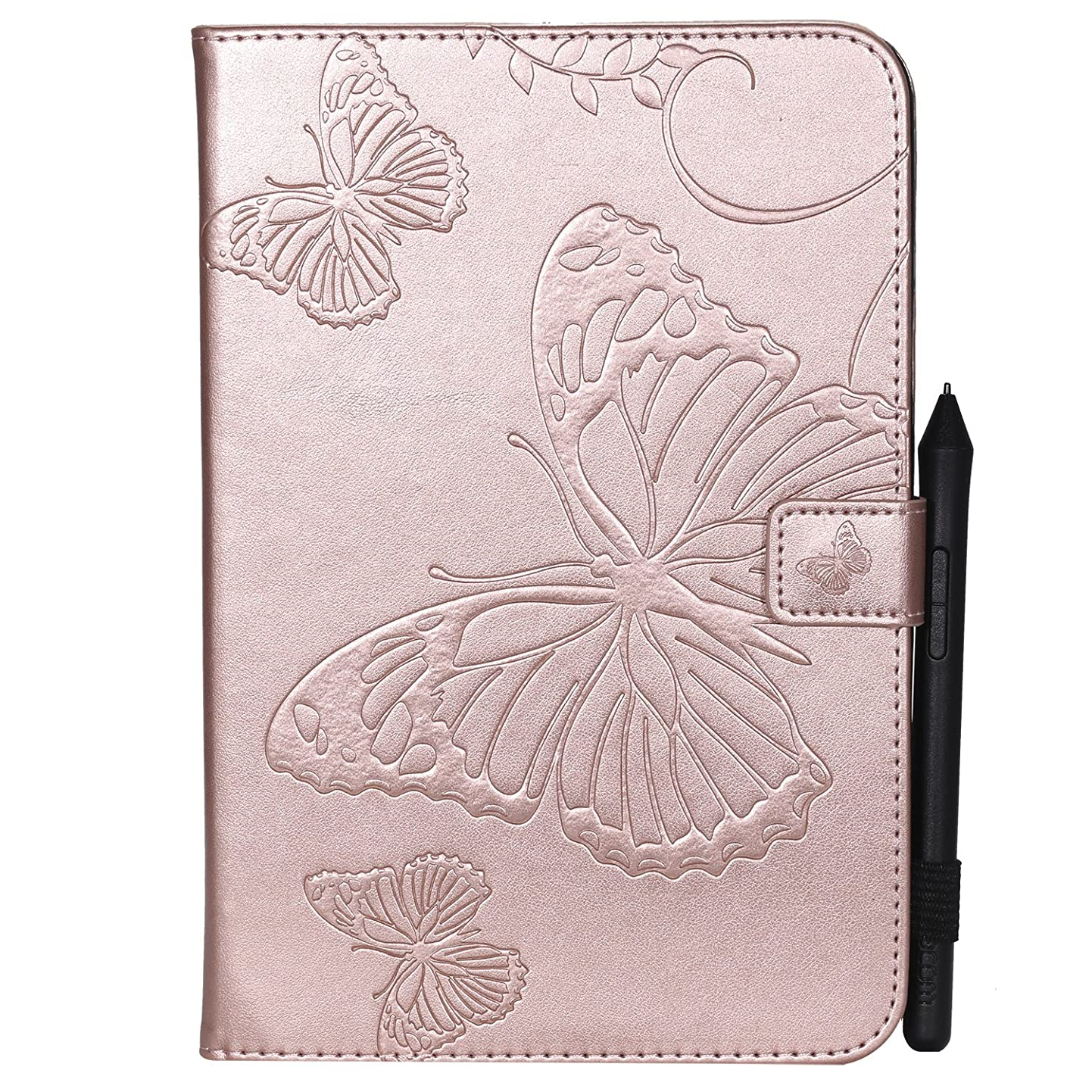Shinyzone Tablet Leather Case for Samsung Galaxy Tab A 8.0 T350,Embossed Rose Gold Butterfly Pattern with Credit Card Slots and Pencil Holder,Auto Sleep and Wake Function Magnetic Flip Stand Cover rzyinyzkdfi0