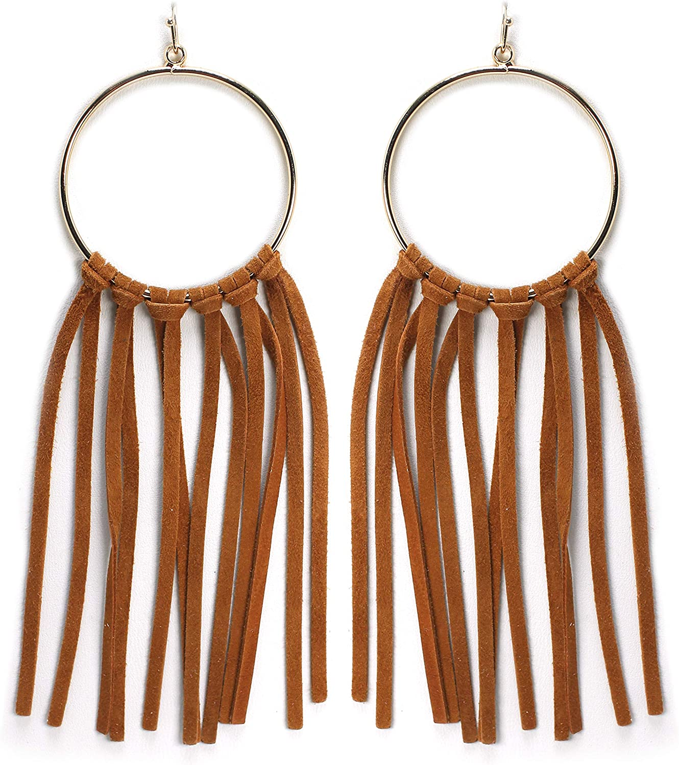 Miracle Collection Bohemian Statement Light Weight Round Hoop With Genuine Suede Leather Fringe Tassel Fashion Earring for Women and Girls