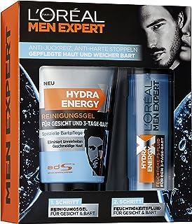 L'Oreal Men Expert Hydra Energy X cadeauset met reinigingsgel (150 ml) en vochtvloeistof (50 ml) voor de 3-dagen-baardverz...