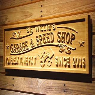 """wpa0468名Personalizedガレージ& Speed Shop Break It Fix It Est。Year Man Cave木製Engraved Wooden Sign Large 26.75"""" x 10.75"""" ブラウン"""