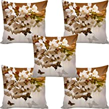 b7 CREATIONS Floral Digital Printed Jute Cushion Cover (Brown,16 x 16 inch) - Set of 5
