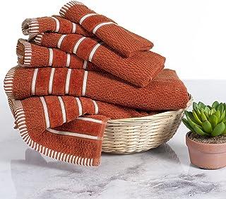 Lavish Home 6 Piece Egyptian Cotton Rice Weave Towel Set Brick