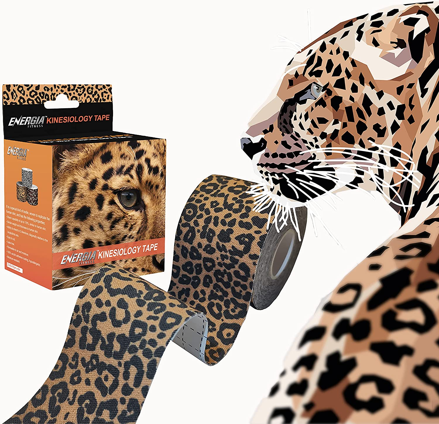 Energia Fitness Wild Collection Kinesiology Tape 2 inch x 16.4 feet Uncut Roll Hypoallergenic Elastic Waterproof Breathable Therapeutic Cotton Athletic Sports Tape for Pain Relief (Leopard): Health & Personal Care