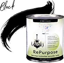 Majic Paints 8-9401-2 Diamond Hard Interior/Exterior Satin Paint RePurpose your Furniture, Cabinets, Glass, Metal, Tile, Wood and More, 1-Quart, Black