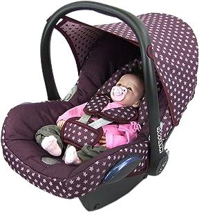 BAMBINIWELT Ersatzbezug für Maxi Cosi CabrioFix 6 tlg, Bezug für Babyschale, Komplett Set STERNE BORDEAUX XX