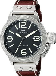Reloj TW Steel unisex con mecanismo de cuarzo, esfera analógica negra y correa de piel marrón
