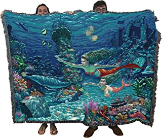 Pure Country Weavers - Mermaids Swimming Lesson Jacquard Large Soft Comforting Throw Blanket by Will Comier with Artistic Textured Design, 100% Natural Cotton, Made in USA 72x54 Inches