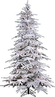 7.5' Flocked Bavarian Pine, Pre-Lit Artificial White Christmas Tree, 600 Clear Lights Stay on if Bulb Burns Out! Fresh Snowfall Look and 1,278 Tree Tips, Zippered Storage Bag, Top Designer Choice