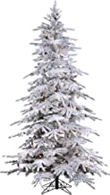 7.5' Flocked Bavarian Pine, Pre-Lit Artificial White Christmas Tree, 600 Clear Lights Stay on if Bulb Burns Out! Fresh Snowfall Look and 1,300 Tree Tips, Zippered Storage Bag, Top Designer Choice
