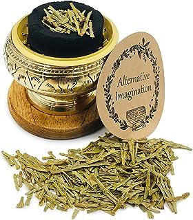 Alternative Imagination Premium Carved Brass Screen Burner with Loose Cedar Incense