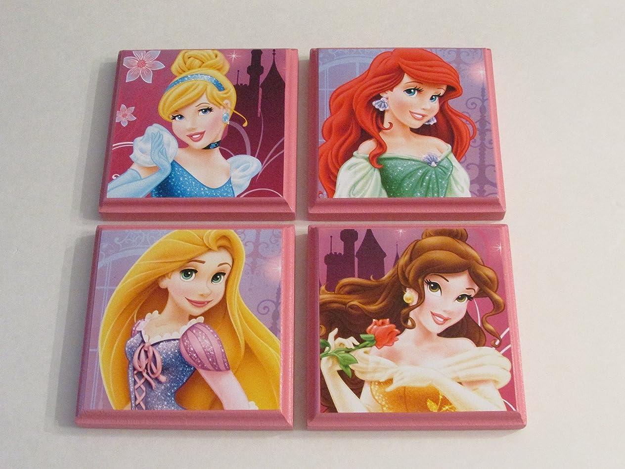 Disney Princesses Room Wall Plaques - Set of 4 Princess Girls Room Decor - Cinderella Rapunzel Belle Ariel the Little Mermaid kvcwvgkh347