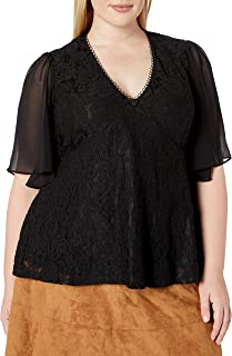 City Chic Women's Apparel Women's Plus Size V-Necked top with Sheer Sleeve Detail