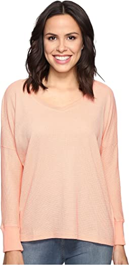 Long Sleeve Drop Shoulder High-Low V-Neck