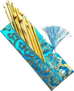 Lot de 13 Crochets en Bambou Naturel 3mm - 12mm. Étui en Soie
