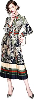 Women's 3/4 Sleeve Floral Print Button up Casual A-line Midi Dress
