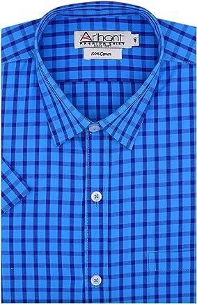 Arihant Men's Checkered 100% Pure Cotton Half Sleeves Regular Fit Formal Shirt