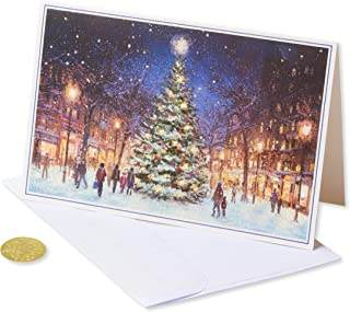 American Greetings Premium City Street Scene Christmas Boxed Cards and Gold Foil-Lined White Envelopes, 14-Count