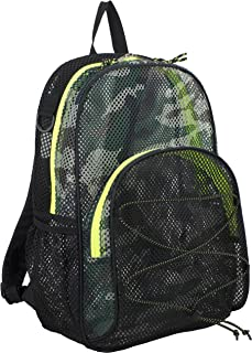 Eastsport Mesh Bungee Backpack With Padded Shoulder Straps, Black/Camo with Neon Yellow Trim