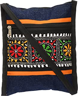 Shanti Niketan Women's Sling Bag (SNHMP17_Blue & Black)