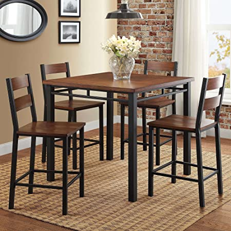 Counter Height Dining Set Table And 4 Chairs Durable Metal Construction Square Shape Footrest Ideal For Family Gathering And Evening Kitchen Oak Finish Expert Guide Table Chair Sets